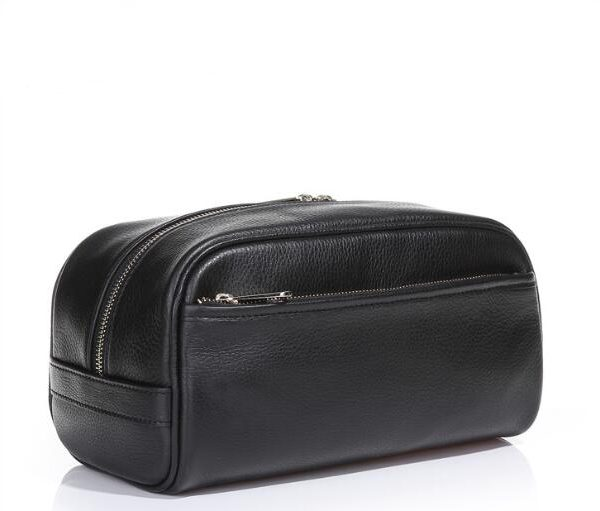 men-pu-leather-plain-black-cosmetic-bag-with-handle-01